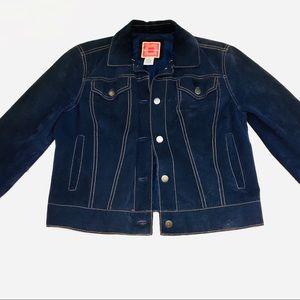 Issac Mizrahi dark wash fitted blazer jacket